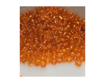 11/0 Silver Lined Transparent Orange Seed Beads 5gm