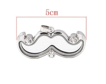Beautiful pendant shaped mustache silver floating charms glass and rhinestones.