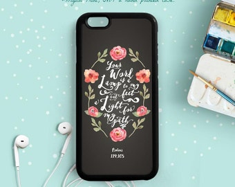 Your Word is a Lamp to My Feet and a Light of My Path. Psalms 119:105, Bible Verse Quote iPhone 7 6 Plus Case, Samsung Galaxy S6 Note 5 Qt79