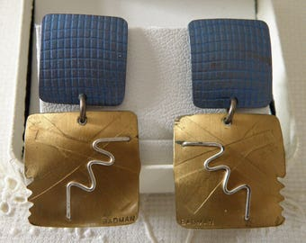 Mixed Metal Blue Gold and Silver Earrings - signed