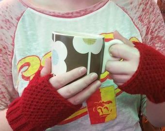 Red - Fingerless Gloves!!