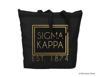 SK Sigma Kappa Foil Frame Sorority Tote