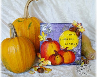 Mixed media canvas, autumn canvas, pumpkin canvas, thanksgiving