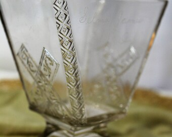 Late 1800s Clear Glass Vase, Hand Engraved, Personalized and Dated