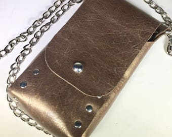 Golden Folded Riveted Leather Pouch