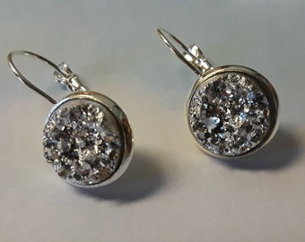 Sparkly Silver Faux Druzy Earrings in Silver Lever-Back Setting, 12 mm