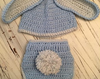 Bunny crochet hat and diaper cover set