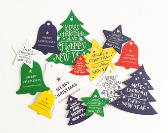 28 pcs Christmas Tree Bell Star Gift Tags - Rainbow Colors Favor Tags Paper Tags Gift Wrap C0137