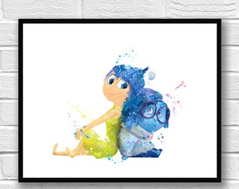 Inside Out Watercolor Print, Joy and Sadness, Disney Art, Movie Poster, Anger Fear, Wall Art, Home Decor, Kids Room Decor, Nursery Art - 687