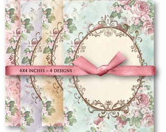 Pink Roses Frame Backgrounds - Digital Collage Sheet Download -934- Digital Paper - Instant Download Printables