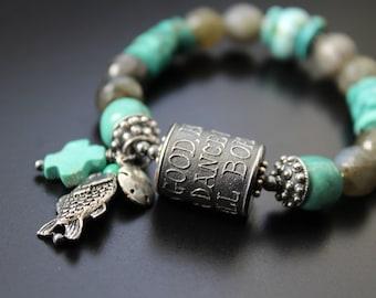 Anne Choi bead genuine turquoise bracelet, sterling silver quote bead bracelet, stretch stacking boho bracelet, labradorite bracelet, OOAK