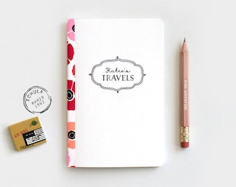 Midori Travelers Notebook, Customized Personalized Notebook & Pencil Set - Stocking Stuffer - Red Poppies Floral Journal