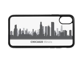 Chicago Illinois Skyline Personalized Phone Case - iPhone X 8 7 6 Plus, 5 5c SE, Galaxy S8 S8 Plus S7 S6 Edge S5, rubber cover, IL