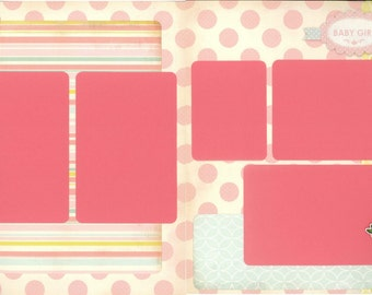 12x12 NEWBORN GIRL scrapbook page kit, premade baby girl scrapbook, 12x12 premade page kit, premade scrapbook pages, 12x12 scrapbook layout