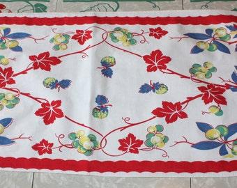 Fruit, Foliage, Fun Kitchen Cotton Towel, Vintage Startex, Mid-Century Decor