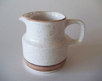 Carrigaline Pottery Creamer / Cream Pitcher, Speckled Cream With Brown Stripes, Ireland 1960s-1970s