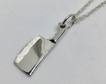Chef Cleaver Knife Necklace - Chef Gift - Chef Jewelry - Culinary Jewelry - Knife Pendant -  Food Jewelry - Culinary School Graduation Gift