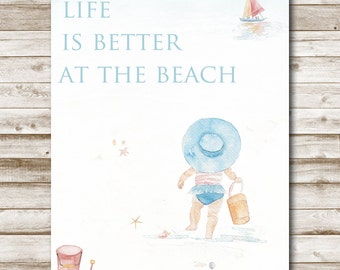 Life Is Better At The Beach Printable Wall Art Print Home Decor 4x6 5x7 8x10 11x14 Beach Decor Tropical Quote Print Photography Prop
