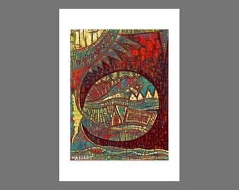 A large fish - no. 66 - 24 x 32 cm on A3 digital art print - signed MASSART - artwork - France - french