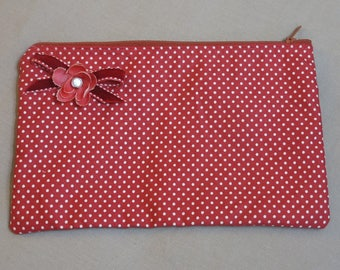"""Cover-Kit """"Sroul"""" Japanese cotton red with white dots """"Emilie Décor"""""""