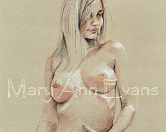 Mary Ann Evans Erotic Female Nude Study (MAECP40) MATURE. Print from original conté drawing