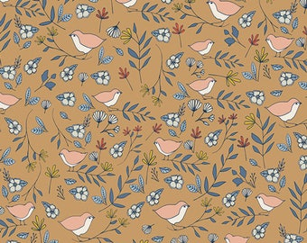 One Yard Cut - Lovebirds Amber - Love Story by Maureen Cracknell for Art Gallery Fabrics -  Quilters Cotton