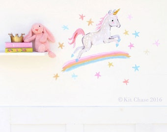Baby girls room, nursery art, Over the Rainbow, Kit Chase artwork, fabric wall decal, removable and reusable
