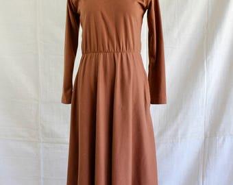 High neck midi dress in rust orange