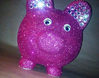 Large jeweled bling piggy bank personalized made to order