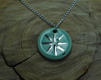 Handcrafted Ceramic Necklace   Circle Burst in Glacier Lake with Real Silver Accents