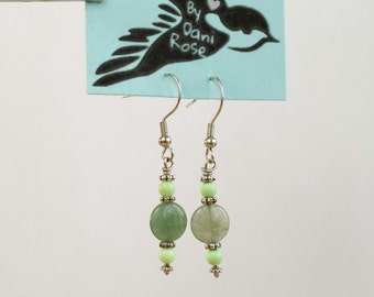 Stabilized olive turquoise and adventurine dangle earrings
