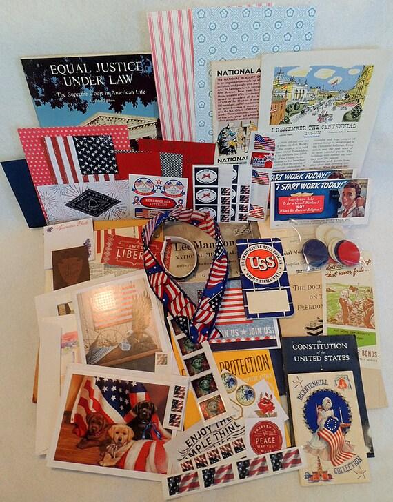 Large Vintage Ephemera Paper Lot Patriotic America Scrap Book Art Journal.. Red, White & Blue July 4  (#1)