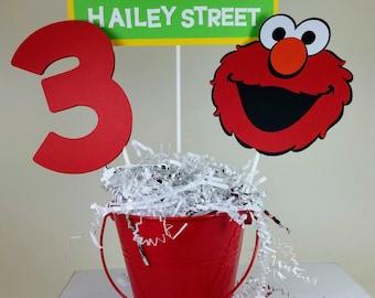 Elmo Centerpiece, Elmo Birthday Party, Personalized Elmo, Sesame Street Birthday, Elmo Decorations