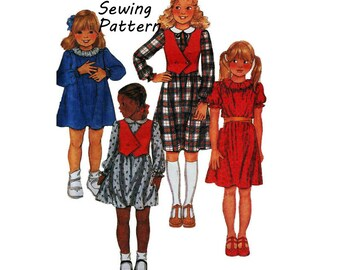 """McCall's 7179 Girl's Pullover One-Piece Dress and Vest Sewing Pattern Size 6 and 14 Chest 25"""" and 32""""/ 64"""" and 81cm Vintage 1980s UNCUT"""