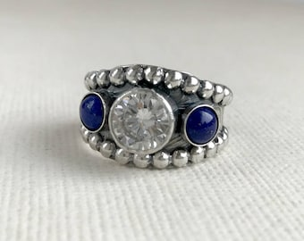 Blue Lapis Ring with CZ - Sterling silver - Western Wedding Ring - Unisex - White Diamond ring - Western Rings for Women
