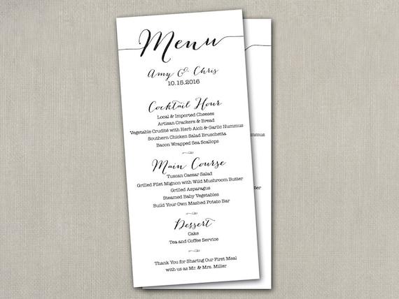 Wedding reception table menu menus size cards 4 x 9 wedding reception table menu menus size cards 4 x 9 printed modern script thank you custom color navy coral peach pink blue etc menu menu junglespirit Choice Image
