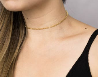 Delicate Gold Chain Choker / Gold Link Choker Necklace / Everyday Gold Choker / Delicate Gold Necklace / Bridesmaid Necklace
