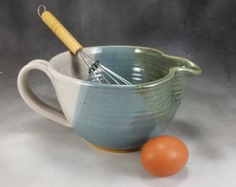 Pottery Batter Bowl Blue Green and White Medium Ceramic Batter Bowl With Whisk Hand Thrown Stoneware Pottery 2