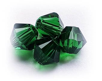 Swarovski Crystal Beads 5328 DARK MOSS GREEN Xilion Faceted Bicone Beads - Sizes 4mm, 6mm & 8mm available