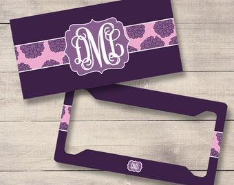 Plum and Pink License Plate and Frame, Personalized License Plate, Monogram Car Tag, Purple License Plate, Flower License Plate (0004)