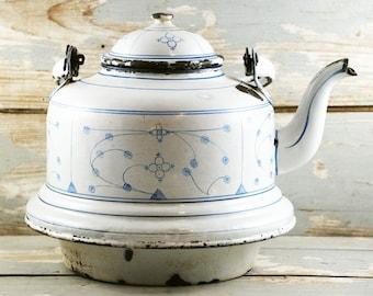 Vintage antique large water kettle white enameled Blau Saks