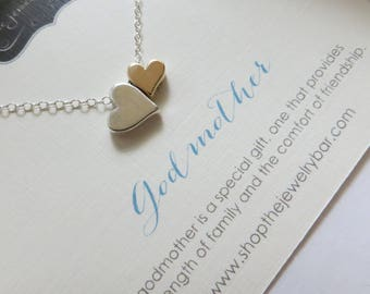 Godmother necklace, double heart necklace, mixed metal, godmother gift, Christmas, step mom gift
