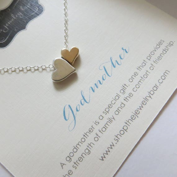 Godmother necklace double heart necklace mixed metal charm aloadofball Gallery