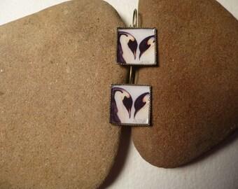 penguin couple earrings handmade with watercolor art print in bronze lever back earring