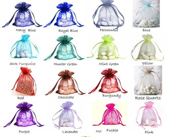 "4""x 6"" ORGANZA SELECT COLOR custom list - drawstring bag gift favor party bridal red blue green purple white black gold navy periwinkle pink"