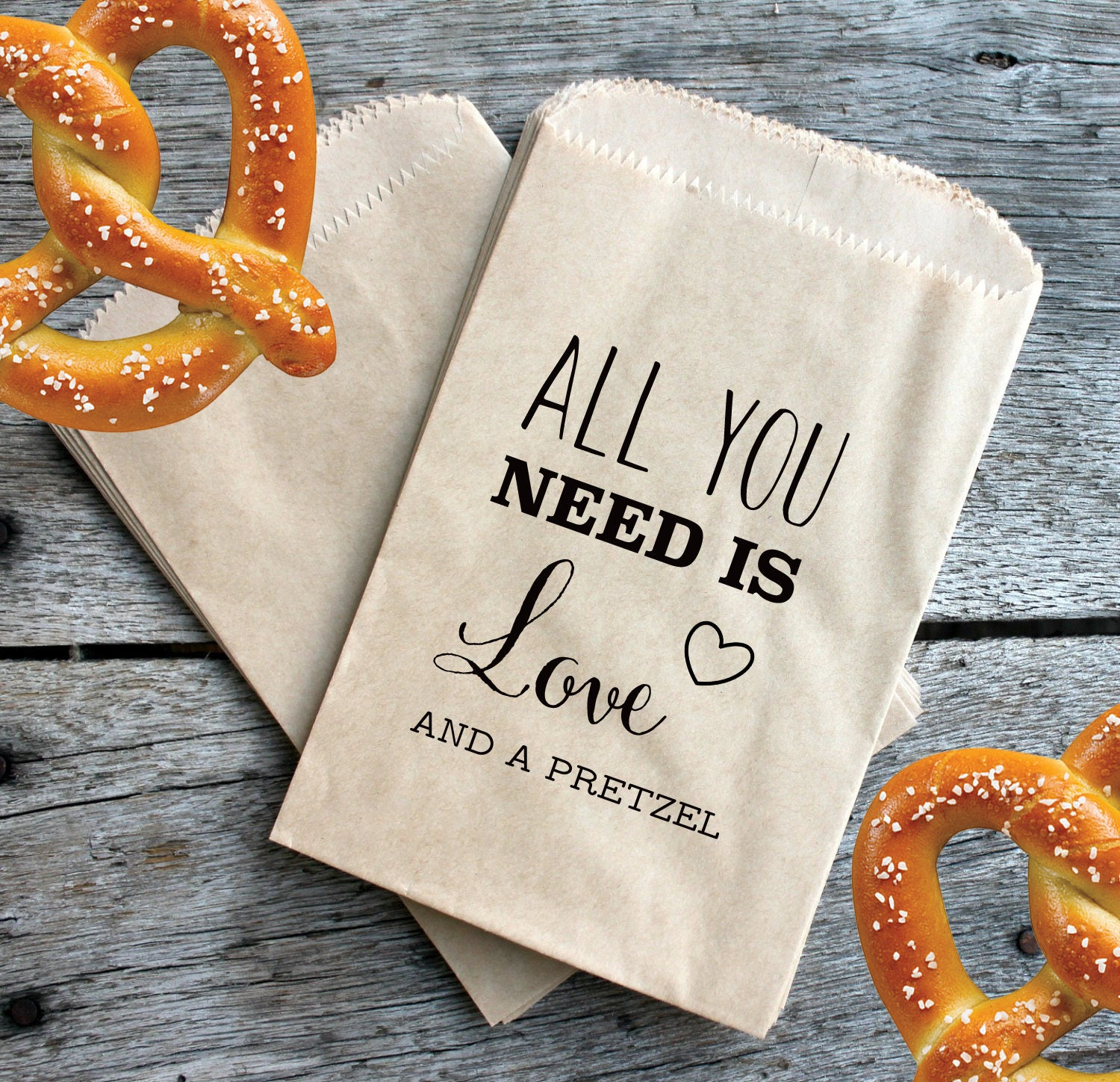 Wedding Pretzel Favor Bags All You Need Is Love And A