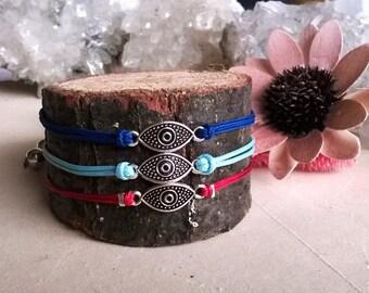 Boho Summer Anklet, Evil Eye Protection Anklet Bracelet, Shamballa Macrame Anklet, Gift for Her, Adjustable Anklet, Lucky Charm Anklet