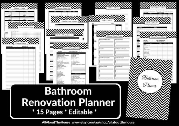 bathroom remodel checklist planner printable renovation home improvement diy inspiration budget layout editable template pdf digital instant - Bathroom Renovation Planner