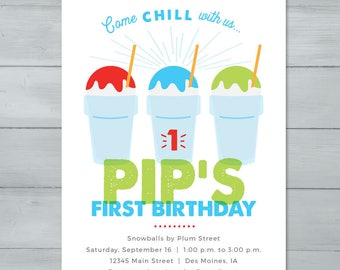 Snow Cone, Sno Cone, Snow Ball, Tropical Sno, Shaved Ice Birthday Invitation  |  Snow Cone Snow Ball Invitation