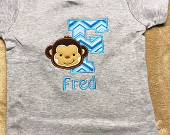Monkey Initial Shirt - Personalized Shirt - Applique - Embroidery
